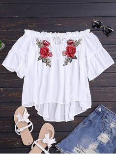 AD : Floral Embroidered Off Shoulder Top - WHITE   Off shoulder top features a floral embroidery along two side of the front with high-low hem.  Product Details:  Tied and ruffled shoulder  Ruffled and short sleeves  Material: Cotton   Shirt Length: Regular   Collar: Off The Shoulder   Sleeves Length: Short   Style: Fashion   Decoration: Embroidery   Pattern Type: Floral   Seasons: Summer   Weight: 0.1900kg   Package: 1 x Top