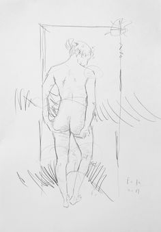 Unbekleidete Frau, die Beschaffenheit ihres Gesäßes überprüfend / Kohle auf Papier / 100 x 70 cm / 2015 /  Detlev Foth