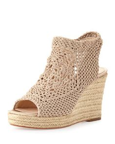Vince Camuto Signature Minerva Crochet Wedge Sandal, Pale Nude - Neiman Marcus Last Call Crochet Shoes Pattern, Shoe Pattern, Knit Shoes, Sock Shoes, Wedge Sandals, Wedge Shoes, Make Your Own Shoes, Crochet Sandals, Sexy Boots