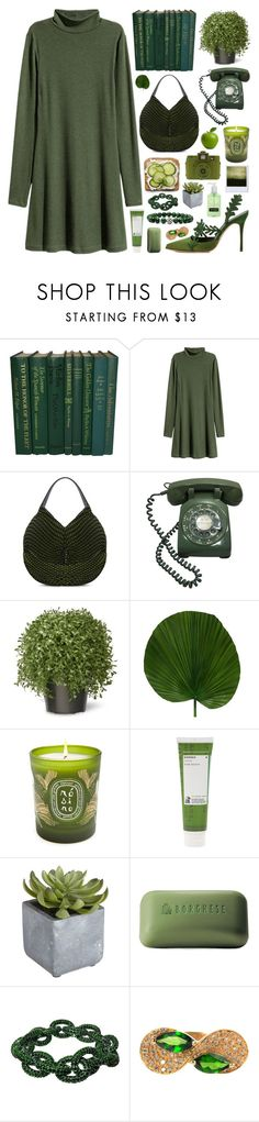 """green"" by megan-vanwinkle ❤ liked on Polyvore featuring H&M, Issey Miyake, National Tree Company, Diptyque, Holga, Korres, Pier 1 Imports, Borghese, Plukka and Lagos"