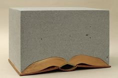 "Jonathan CallanRational Snow | 2002aerated concrete, wood, book, approx. 8"" x 11 x 19"""