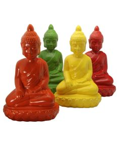 Choose your favorite color Buddha! These high-gloss ceramic statues available in orange, yellow, green and red at BuddhaGroove.com.