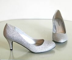 8d864af34 New Classic Comfy Med High Heel Round Toe Pumps Silver Glitter Kayson-H  5.5-10