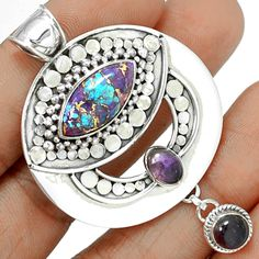 Copper Purple Arizona Turquoise 925 Sterling Silver Pendant Jewelry PCTP1498…
