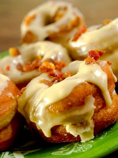 brioche donuts with maple frosting and bacon crumbles...omg