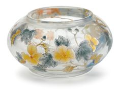 Chinese enameled transparent glass water coupe, Qianlong mark but later