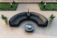 Amazon.com : Harmonia Living Urbana Eclipse 4 Piece Modern Patio Sectional Sofa Set with Gray Sunbrella Cushions (SKU HL-URBN-E-4SECT-CC) : Wicker Sectional Sofas : Patio, Lawn & Garden
