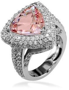 trillion shape morganite and diamond ring