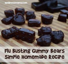 This Flu Busting gummy bears recipe is kid approved at our house. Made with homemade elderberry syrup and gelatin for an immune boosting, gut healthy treat. From Wellness Mama Healthy Treats For Kids, Healthy Snacks, Fruit Snacks, Diy Snacks, Healthy Recipes, Cough Remedies For Adults, Homemade Gummy Bears, Homemade Gummies, Elderberry Gummies