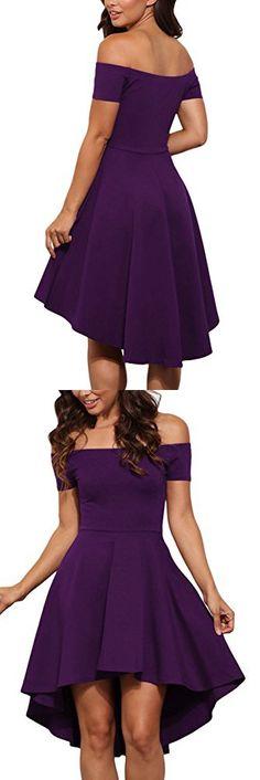 LOSRLY Womens Vintage Rockabilly Solid Swing Over Off Shoulder Dress Plus Size Lilic XL 14 16