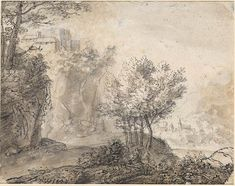 Anthonie Waterloo A Wooded River Landscape with Distant Mountains. Verso: A Mountainous River Landscape with a Castle on a Crag and a Distant Town, Town Drawing, Drawing Sketches, Vintage Wall Art, Vintage Walls, Italy Map, Chalk Drawings, Over The River, Forest Landscape, Landscape Drawings