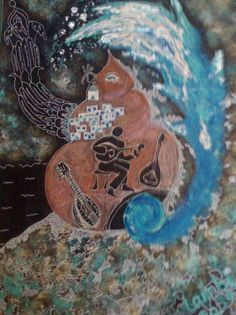 Acrylics and marker pens on canvas board. Given to a friend and hanging up in his cafe. Inspired by Ios island, Greece Marker Pen, Canvas Board, Acrylics, Pens, Markers, Greece, Fantasy, Island, Inspired