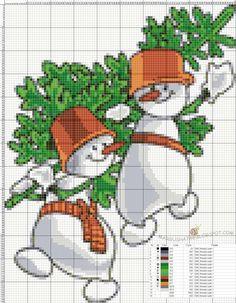 Коробка увлечений: Снеговики. Схемы вышивок крестом