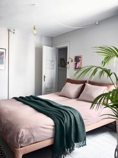 modern pink and green bedroom