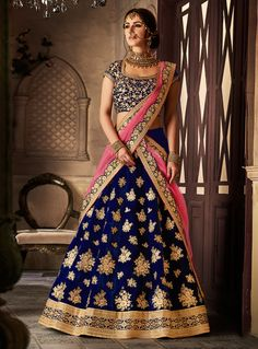 Buy Navy Blue Velvet A Line Lehenga Choli 121680 online at lowest price from vast collection at m.indianclothstore.c.