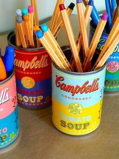 Andy Warhol Soup Can Pencil Cups by Rachel Schultz, for my soupie boy