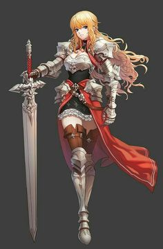 Anime girl wearing dress with armored plating with great sword red handle and dress. Fantasy Female Warrior, Female Armor, Anime Warrior, Female Knight, Fantasy Armor, Anime Fantasy, Fantasy Girl, Female Character Design, Character Design Inspiration