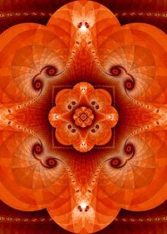 fractal art blossom - orange