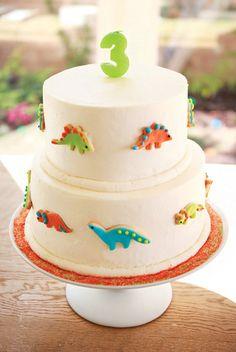 dinosaur cookie decorated birthday cake