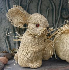 Whimsey Burlap Bunny Decoration weighted home wedding by woolcrazy,