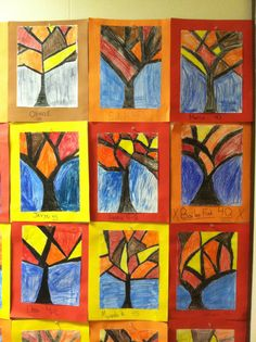 Abstract trees. Fourth grade art