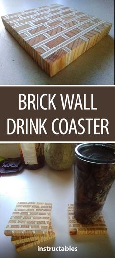 Brick Wall Drink Coaster #woodworking