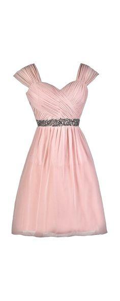Lily Boutique Kegan Gunmetal Embellished Chiffon Dress in Blush , $80 Pink Bridesmaid Dress, Cute Pink Dress, Pink Party Dress www.lilyboutique.com