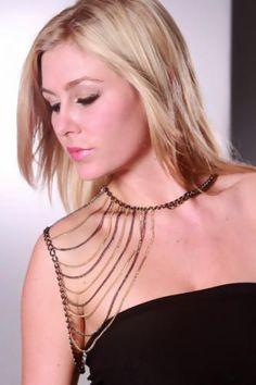 Pewter Multi High Polish Metal Chain Draped Body Jewelry