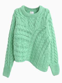 Green Cable Sweater With Irregular Hem | Choies