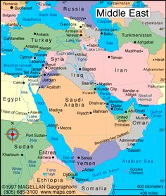 Middle East Map Map Showing The Countries Of Middle East - Map of egypt israel jordan