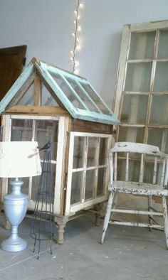 make a small green house out of old windows for growing veggies in the winter
