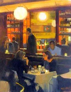 """Coffee and dessert"" - Original Fine Art for Sale - © Kathy Weber Russian Painting, Figure Painting, Kathy Weber, Art Cafe, Vintage Poster, Fine Art Gallery, Portrait Art, American Artists, Figurative Art"