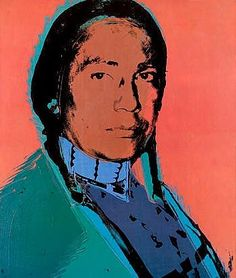 Warhol's wonderful portrait of Russell Means activist and leader in the American Indian movement. Led the movement at Wounded Knee SD in 1973. RIP