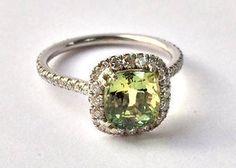 14K Green Sapphire and Diamond Ring