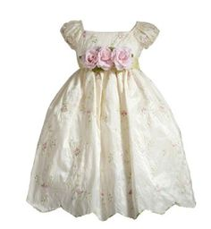 Lilith Embroidered Puff Sleeve Flower Girl Dress with Sash for Infants,