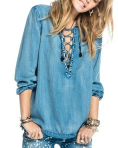 Scotch & Soda Lace-Up Chambray Shirt | Bloomingdale's