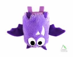 Super Cute and Funny Violet Bat Rock Climbing Chalk Bag by Craftic Climbing