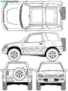 67 best blueprints cars images on pinterest cars art drawings car blueprints 1996 toyota rav4 i 3 door suv blueprint malvernweather Image collections
