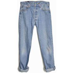 Vintage 90s Levi's 501 Boyfriend Jeans W 32 L 32 (160 BRL) ❤ liked on Polyvore featuring jeans, pants, bottoms, denim, levi jeans, vintage boyfriend jeans, oversized jeans, blue jeans and denim boyfriend jeans