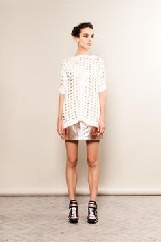 Rose gold metallic skirt and trainers with oversized knit from Zoe Jordan S/S 13