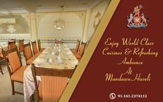 Feast on a royal menu including both traditional and world class cuisines only at Mandawa Haveli. Book a table now!! #HeritageHotel #Royal #cuisines #restaurant #jaipur #resort #SummerVacations
