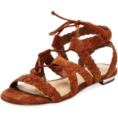Schutz Braided Suede Sandal ($99) ❤ liked on Polyvore featuring shoes, sandals, suede sandals, laced shoes, flat shoes, lace up shoes and gladiator sandals