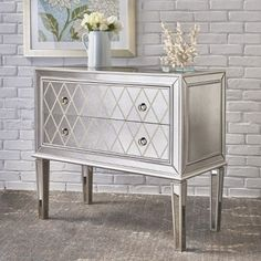 Noble House Dillon Mirrored 2 Drawer Cabinet with Faux Wood Frame, Silver Furniture Layout, Rustic Furniture, Furniture Design, Mirrored Bedroom Furniture, Accent Furniture, Bedroom Table, Diy Bedroom Decor, Bedroom Ideas, Wholesale Furniture