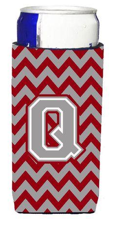 Letter Q Chevron Crimson and Grey Ultra Beverage Insulators for slim cans CJ1043-QMUK