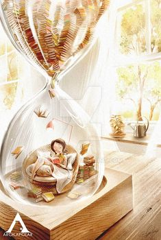 Girl in an hourglass reading illustration, Landscape Drawings, Art Drawings, I Love Books, My Books, Reading Art, Woman Reading, Reading Time, World Of Books, Jolie Photo