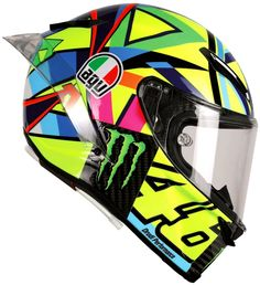 This is the Valentino Rossi AGV Pista GP R Soleluna 2016 helmet - a race replica of Valentino Rossi's MotoGP helmet. Find out where to buy it here. Agv Helmets, Cool Motorcycle Helmets, Racing Helmets, Cool Motorcycles, Shark Helmets, Valentino Rossi Helmet, Valentino Rossi 46, Vinales, Pink Motorcycle