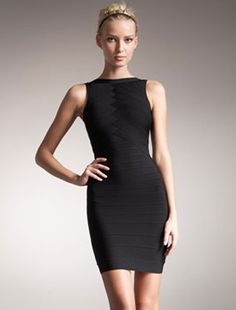 $124.26 Herve Leger Black Dress - Bandage Back Cutout Sale Cheap