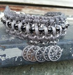 Coin bracelet, silver coin bracelet, cuff bracelet, arm party, coin jewelry, bohemian chic, gypsy bracelet, boho jewelry, boho hippie gypsy