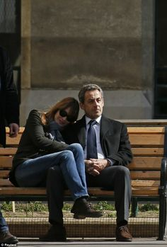Carla Bruni with husband Nicholas Sarkozy.. cute n' chic in-love couple style..