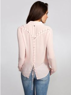 GUESS Women's Eva Long-Sleeve Lace-Up Detail Shirt